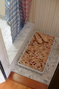 Step out of a shower/bath on to a cork mat...no wet feet on the floor and more wine cork ideas