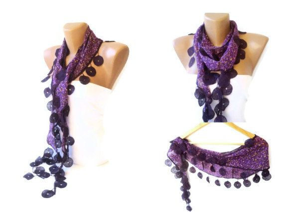 Purple Scarf Floral Print Scarf Womens Scarves  by scarvesCHIC, $12.90