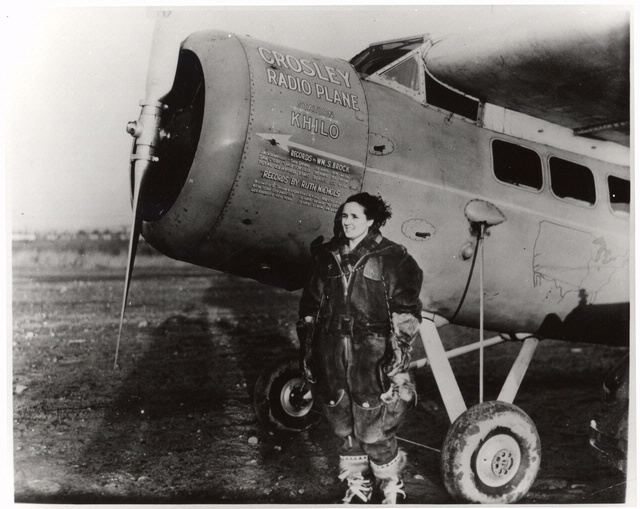 "Ruth Nichols, 1930. Nichols was the only woman to simultaneously hold the women's world speed, altitude, and distance records for heavy land planes. In 1940, Nichols founded Relief Wings, a humanitarian air service for disaster relief that quickly became an adjunct relief service of the Civil Air Patrol (CAP) during World War II. She is pictured here next to her Lockheed Model 5 Vega Special ""The New Cincinnati,"" in which she set a women's transcontinental speed record in 1930. NASM-79-3164"
