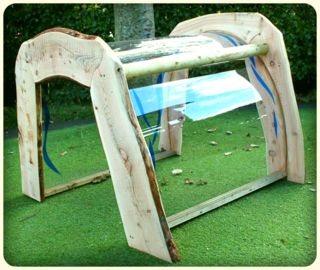 Rain pod - instead of a pod, can we get a large clear plastic sheet as a cover for an outdoor seating area made of natural logs.