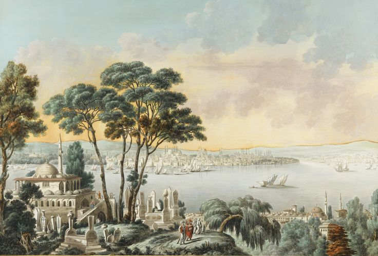 Louis-François Cassas VUE DE CONSTANTINOPLE PRISE DE LA MER DE MARMARA LOUIS-FRANÇOIS CASSAS; VIEW OF CONSTANTINOPLE FROM THE MARMARA SEA; WATERCOLOR AND GOUACHE OVER ENGRAVING