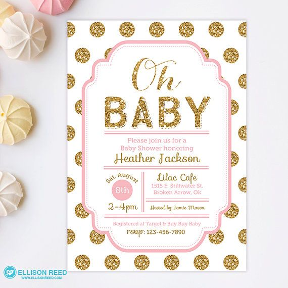 pink and gold baby shower invitations glitter baby