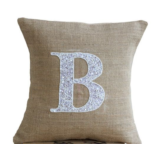 Sequin Elephant Throw Pillow : Burlap Monogram Pillow - Customized Sequin Monogram throw pillow- Sequin Throw pillows -14x14 ...