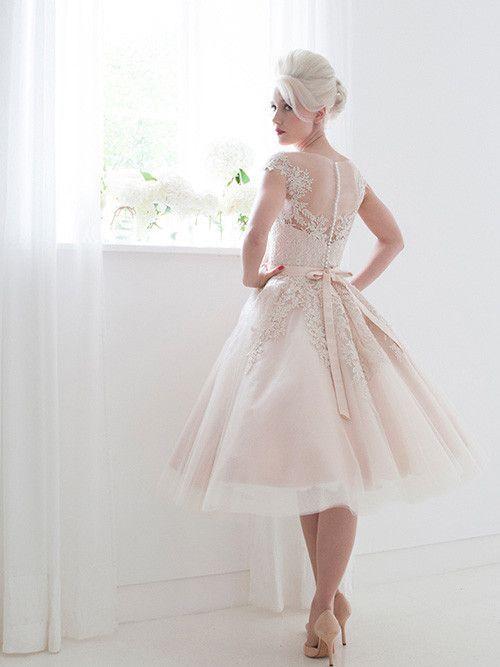 Pink Wedding Dresses Tea Length : Frosty pink modest retro tea length wedding dress dv
