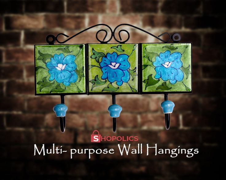 Use this multipurpose #BluePottery #WallHanging as #decorator in #home . #Wall #Hanging selection for your wall is a tricky task as it has to blend with the background #beauty of the wall. This three-pin wall hanging is one of a kind which suits on every wall and is a #creative way of holding your #essentials . Shop now:  https://goo.gl/FOFpoN