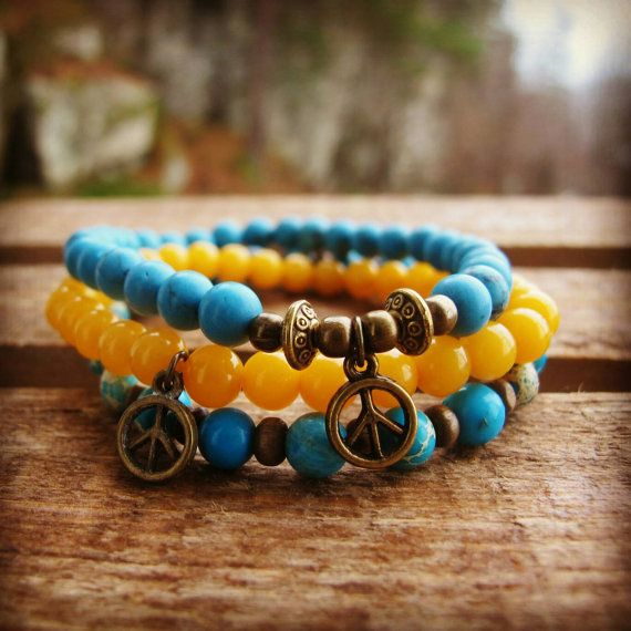 Check out this item in my Etsy shop https://www.etsy.com/no-en/listing/260039216/bracelet-set-turquoise-yellow-jade-and