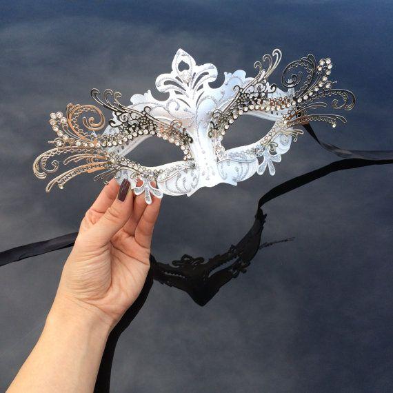 Máscara de la mascarada veneciana 3D plata con diamantes - máscara de la bola de mascarada - traje, Cosplay, traje de diosa griega