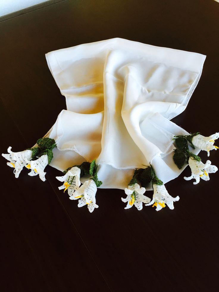 Flar oya elyapımı pamuklu beyaz