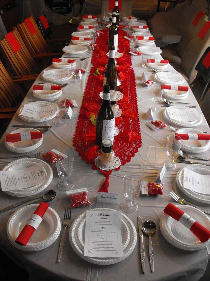 Kay parker red and black formal party setting