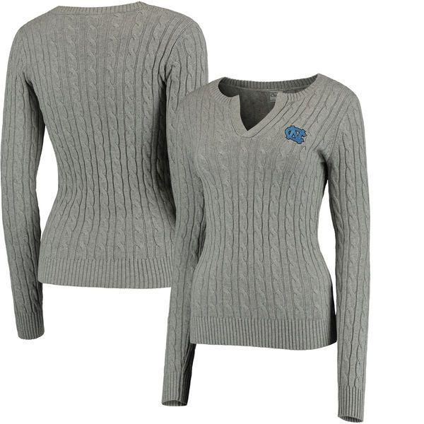North Carolina Tar Heels Colosseum Women's Alma Mater Cable Sweater - Gray