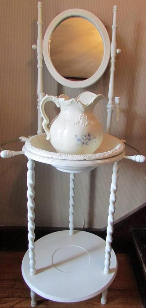 Painted Vintage Wash Stand With Mirror, Pitcher And Bowl