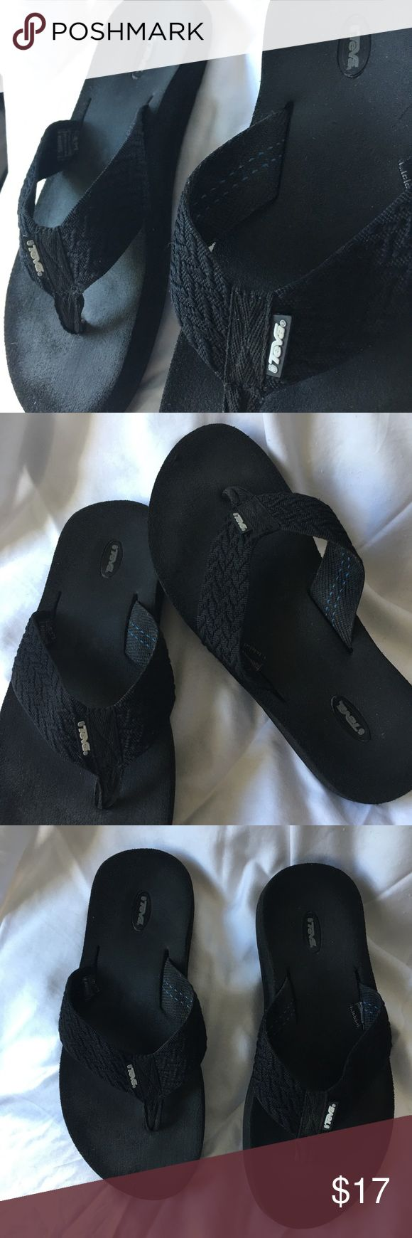 Teva flip flops Black. Comfortable. Worn a few times. Woven band is flat so it won't bother top of your foot! Some wear from previous use. Perfect on the bottom/soles are perfect as you can see in picture! US size 8. Teva Shoes Sandals