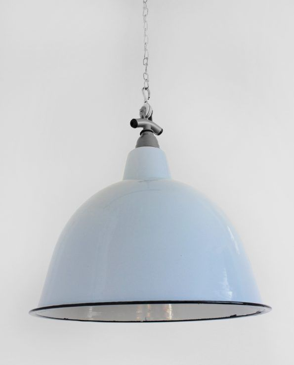 Cloche (Duck egg blue) A deeper bell-shaped style straight from the mid-century factory floor, this light shade adds a great retro look to any commercial or residential space.