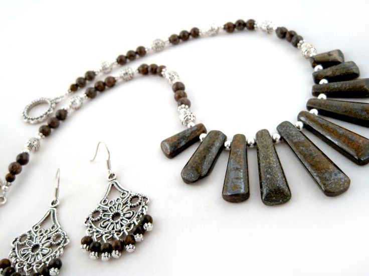 Bronzetta Set $33.00   Ladies handmade Bronzite brown necklace, and earrings set  Bronzite, spotted brown Agate, and Tibet silver are combined together for a stylish look. The necklace is strung onto tigers tail wire for strength, durability and drape. Finished off with an ornamental toggle clasp. The earrings are strung onto silver plated wire.