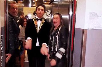 ANIMATED GIF Mika leaving the elevator - The Voice