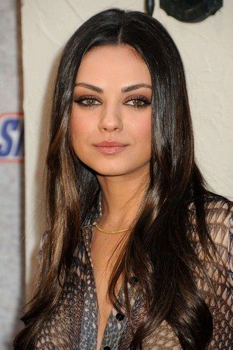 mila kunis  - long, glossy, brunette hair with a touch of wave