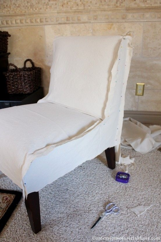 Slip-Covering an Armless Accent Chair- Great tutorial! This could work for my bar stools.