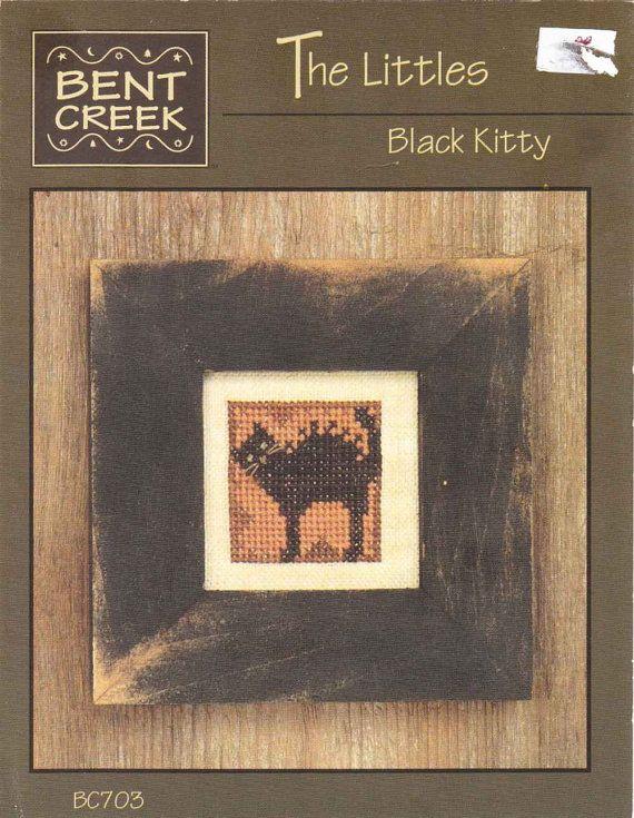 Primitive HALLOWEEN Cross Stitch  Scared BLACK KITTY  TheOldOwl, $3.99