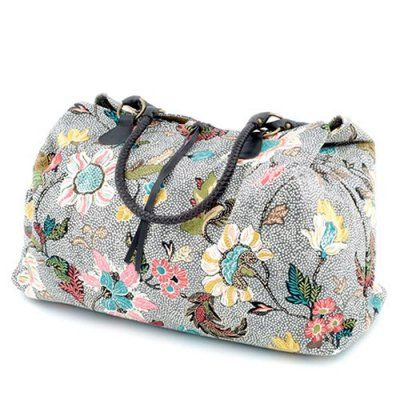 Ceannis - Weekend Bag Grey Flower Linen