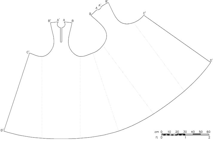 Pattern for woman's early 13th century sideless surcoat (pellote), based on an extant piece.