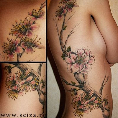 Floral tattoo: a flowering branch. This image doesn't belong to seiza.ro and is displayed for inspirational purposes only. For our collectio...