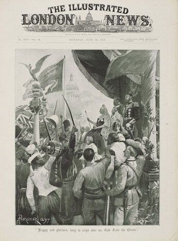 Front cover of the edition of Illustrated London News published on 26 June, symbolising how the different countries of the British Empire came together to celebrate the Diamond Jubilee. Representatives of all the Empire nations were involved in the main Jubilee procession on 22 June 1897, as well as in many of the parades and receptions organised in honour of the Jubilee.