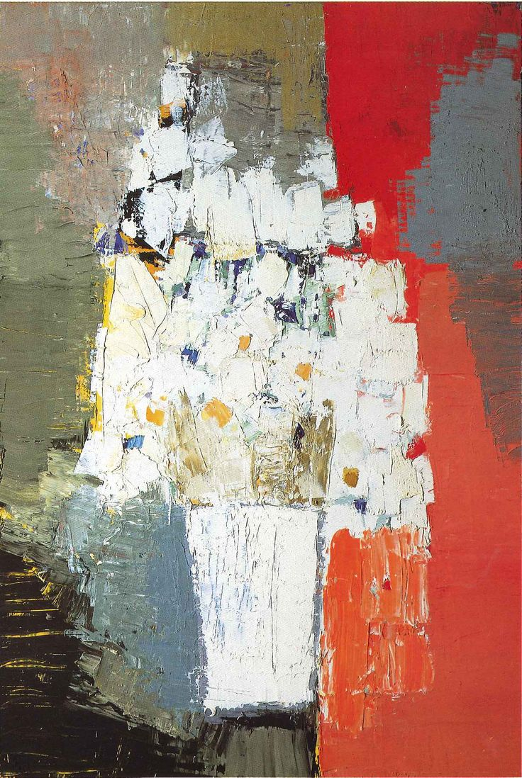Nicolas de Stael, White and Yellow Flowers, painted in 1953, the year he most successfully balanced abstract and representational elements. Arts Club Chicago Collection, 1996.