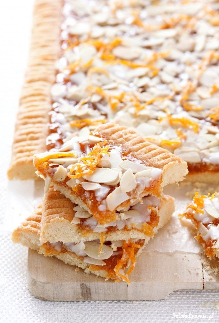 Almond shortbread with Orange Jam, called Mazurek - traditional Polish Easter Cake