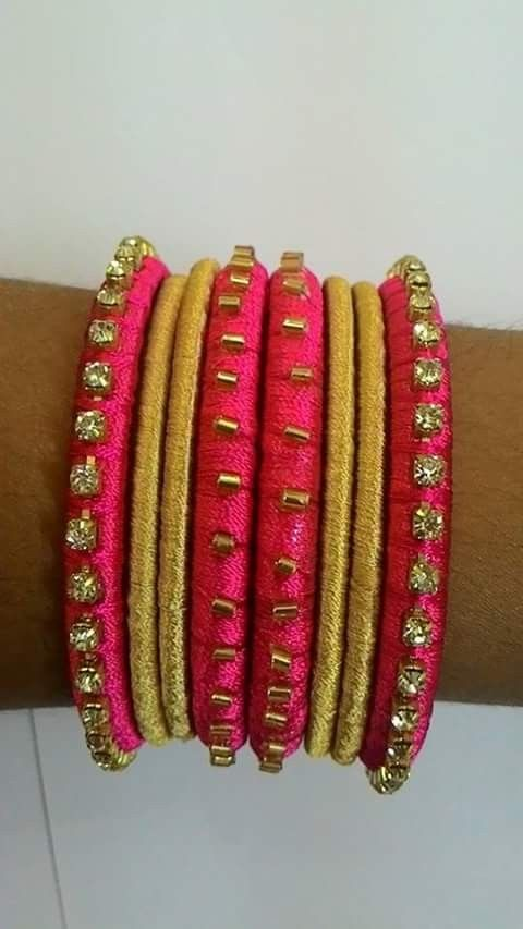 Pink & Gold Silk Thread Bangles Set Of 8 Party Wear