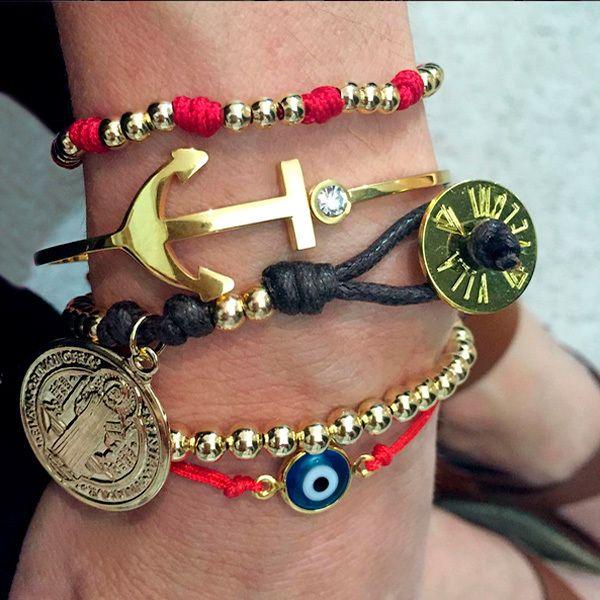 Set By Vila Veloni Gold And Red Charm Cute Bracelets
