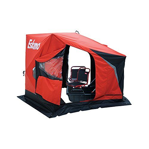 Eskimo Evo2 Portable Flip Style Ice Shelter with Pop Up Hub Sides (1 or 2-Person)  https://fishingrodsreelsandgear.com/product/eskimo-evo2-portable-flip-style-ice-shelter-with-pop-up-hub-sides-1-or-2-person/  More fishable area. The EVO gives you more fishable area than any comparable Sled style shelter by utilizing fiberglass poles and hub technology Lightweight. By replacing bulky metal poles with fiberglass poles, the EVO keeps weight to a minimum and makes it always easy