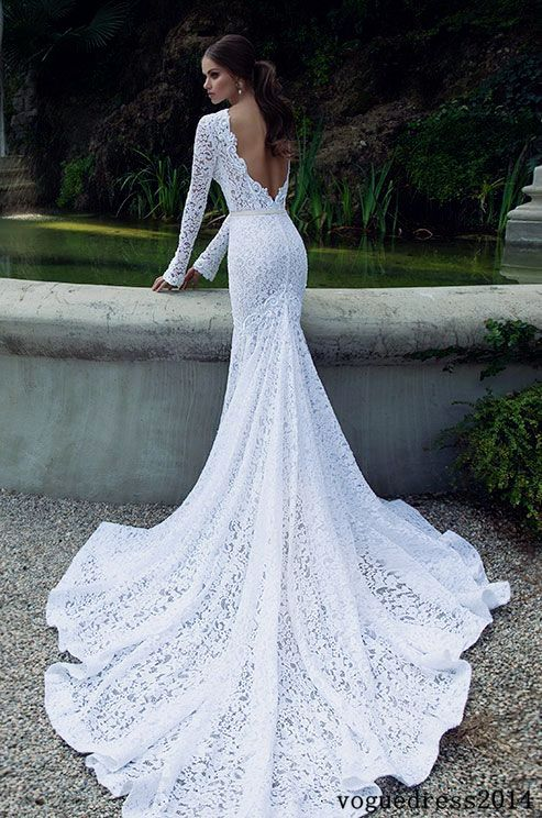 How fabulous is this lace wedding dress with a beautiful train. Click to check the fabulous Berta Winter 2016 bridal collection.