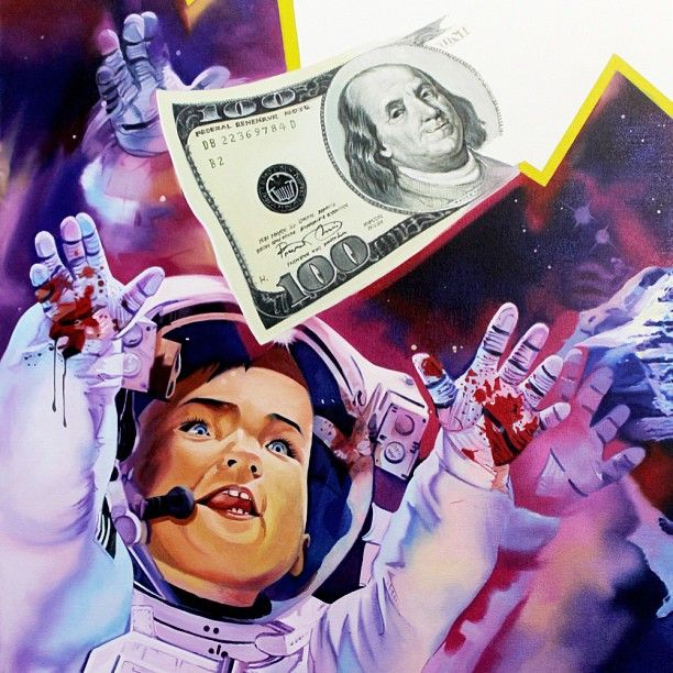 LO$T CHILDHOOD - close up. - deathsuite.com #art #painting #space #astronaught #oilpaint #fashion #canvas #colour #blog #deviantart #blogger #tattoo #creative #skull #igers #photooftheday #instagood #instamood #fashion #money #cash #blood #galaxy #dream #dreams #childhood #greed