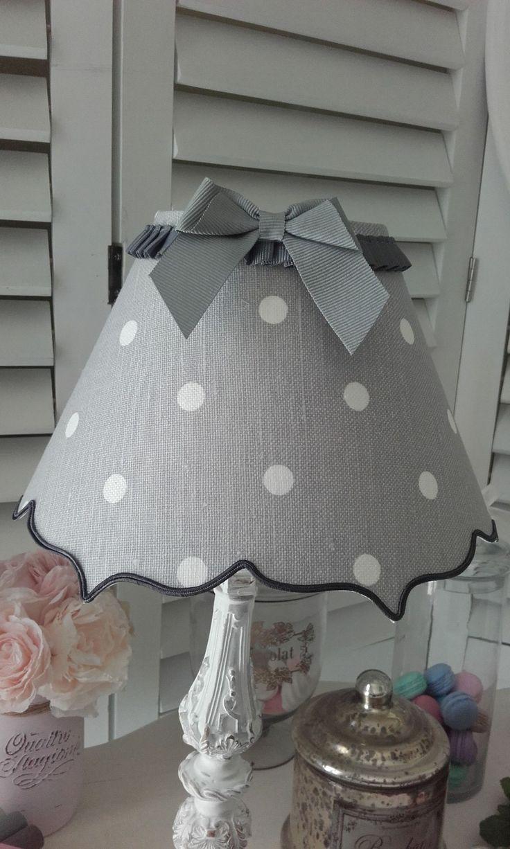 Abat-jour double accolade en lin gris perle à pois blancs et noeud : Luminaires par patines-lin-et-coton
