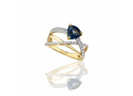 LONDON BLUE TOPAZ AND CREATED WHITE SAPPHIRE RING