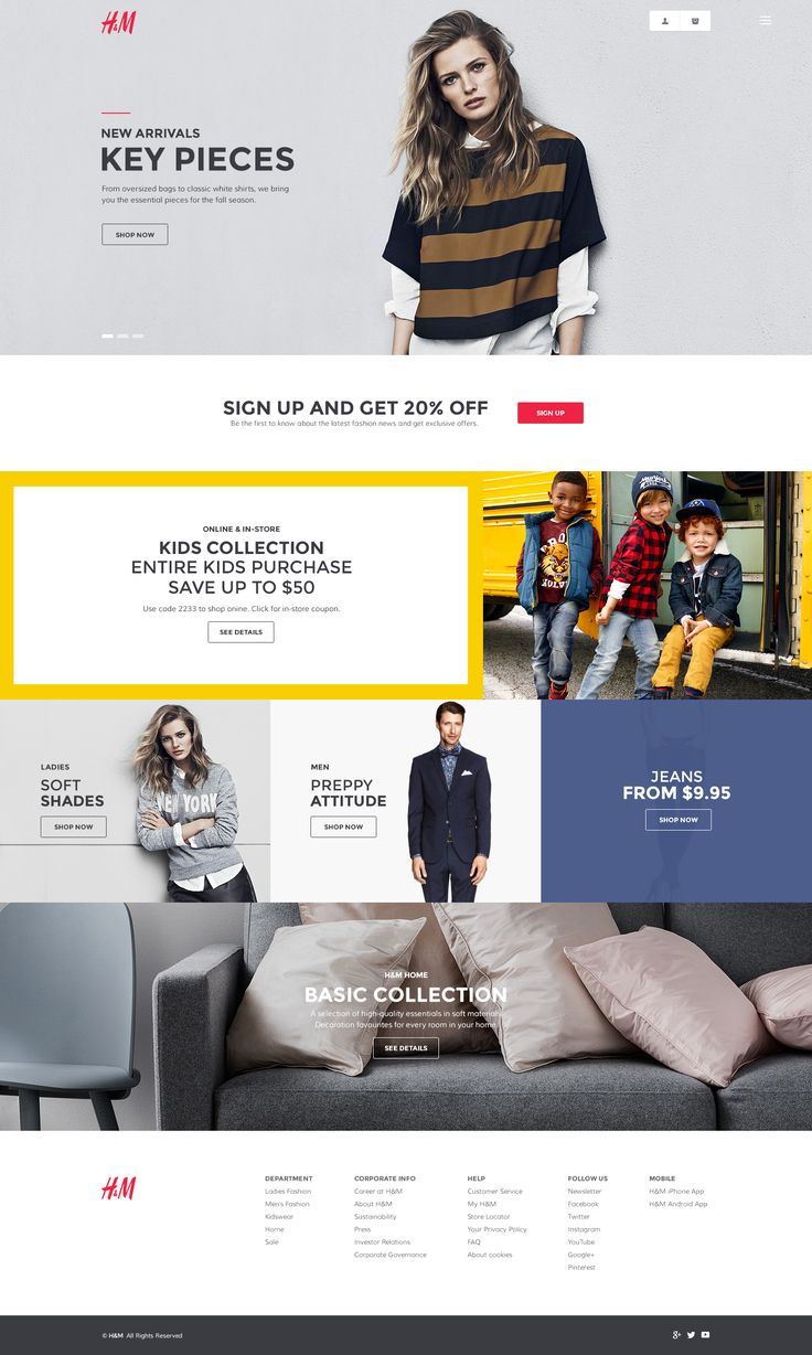 H&M Homepage Redesign by Andrew Baygulov