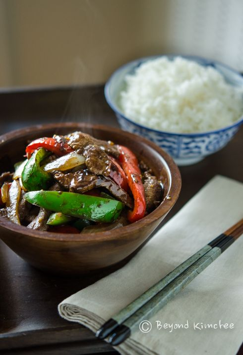 Beef and Peppers Stir-fry in Black Bean Sauce. I always see the black bean sauce in the store, but have no idea what to do with it. This is happening!