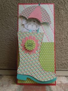 Cricut Umbrella & Rain Boot Card. Paisley Cartridge.  *