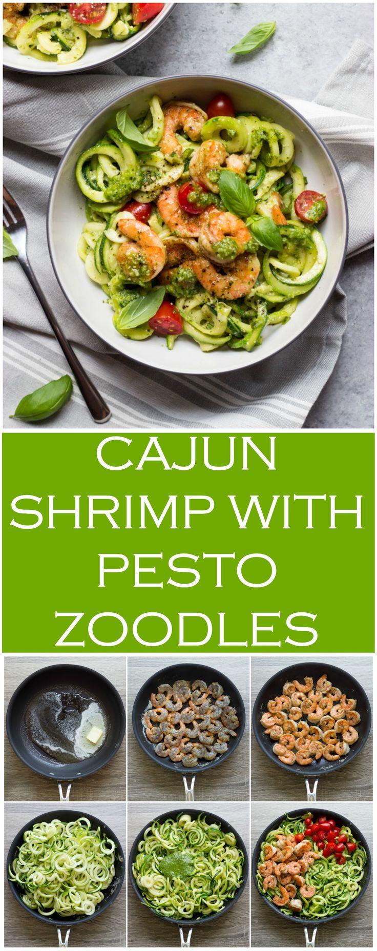 Cajun Shrimp with Pesto Zoodles - easy, light, nutritious, and flavorful summer meal | littlebroken.com @littlebroken