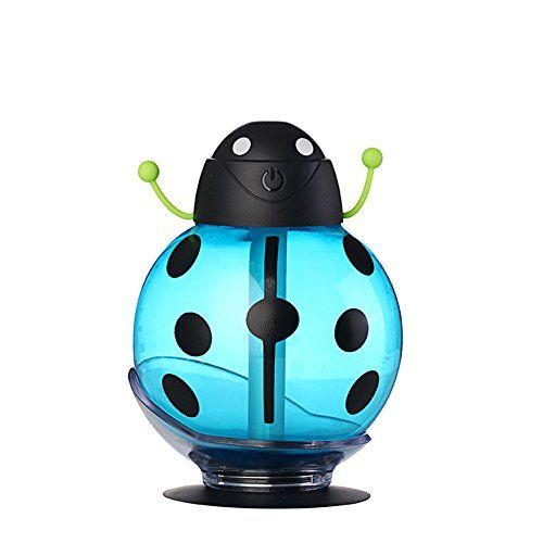 Air Humidifier FlatLED Portable Mini Humidifier USB Air Freshener Beatles Car Humidifier Aroma Diffuser Air Diffuser Purifier Atomizer with Night Light for Home Office Travel Blue