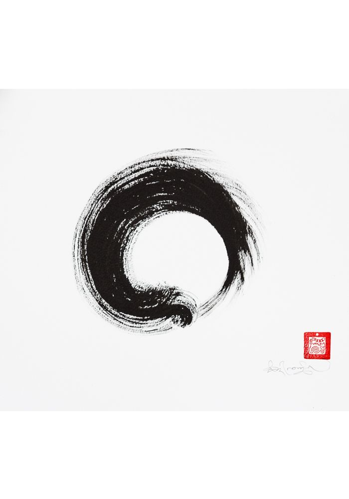 Original Enso Zen Painting Throw Pillows: Ouroboros Enso - Original