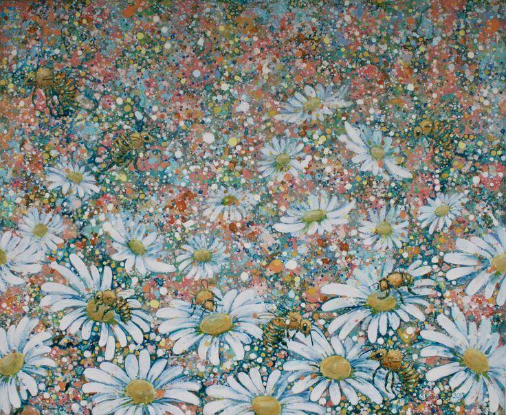 Et yrende liv 6 - akrylic painting - akrylmaleri - flowers - blomster