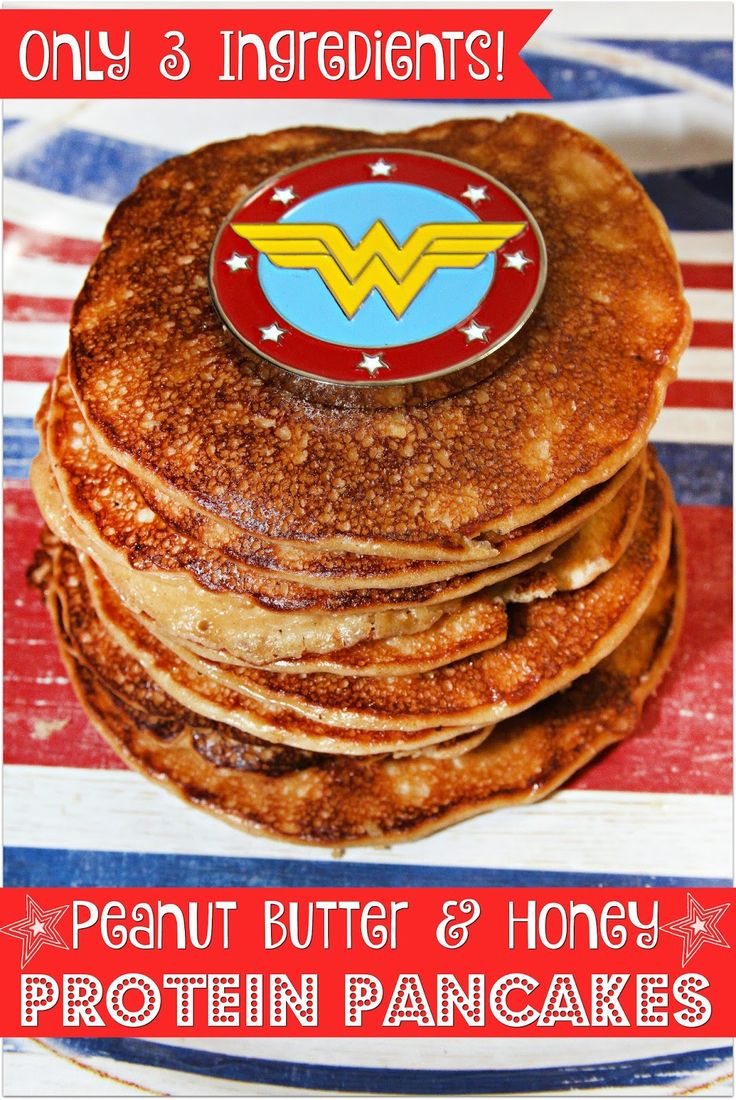 3 Ingredient Peanut Butter and Honey Protein Pancakes - Wonder Woman inspired for #MovieMonday !