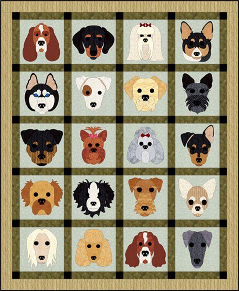 "Dog Days Quilt Pattern FCP-030 (advanced beginner, wall hanging) $14.95  64"" x 78"""