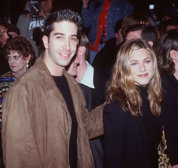 """Here are '90s Ross + Rach supporting Courteney Cox at the Scream 2 premiere.   27 Photos Of The """"Friends"""" Cast Being Friends In Real Life"""