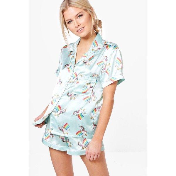 Boohoo Alice Unicorn Print Shirt & Short Set (33 AUD) ❤ liked on Polyvore featuring intimates, sleepwear, pajamas, unicorn pyjamas, short pjs, unicorn pajamas, short pajama set and short sleepwear