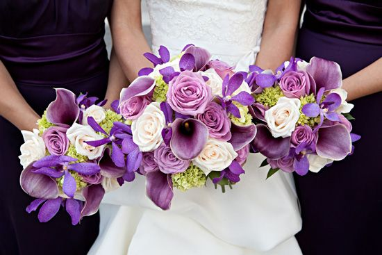 I like the purple and white roses, hydrangeas and calla lilies.