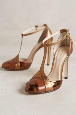 Guilhermina Mari T-Strap Heels Bronze 39 Euro Heels #anthroregistry