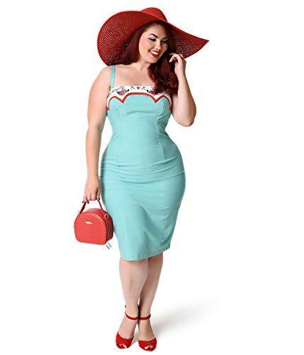 Fashion Bug Women Plus Size Glamour Bunny Plus Size Rockabilly Mint Marylou…