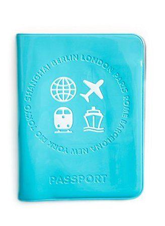 Reisepasshülle in der Farbe türis blau Größe: 10 x 13,5 cm zugeklapt aus Kunststoff, wasserfest; Ein tolles Geschenk für Reiselustige